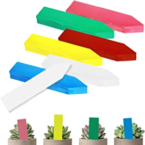 BEADNOVA Plant Labels 150pcs Plant Tags Multicolor Identification Stakes Plastic Plant Labels for Pots Garden (4 Inch, 6 Colors)