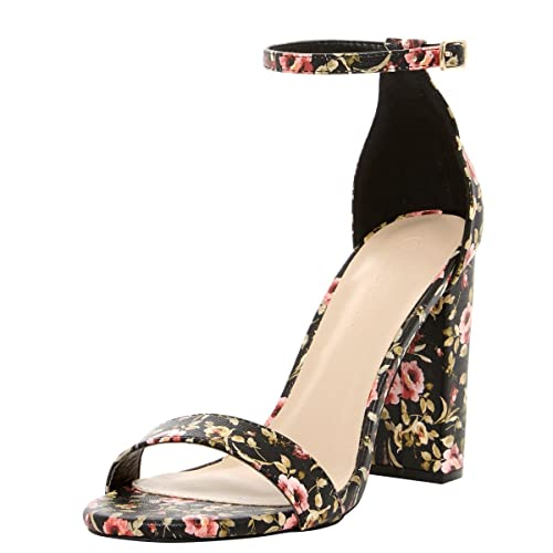 eee5e21c38bcc Wild Diva Womens Open Toe Ankle Strap Chunky High Heel Floral Print Pump  Sandals