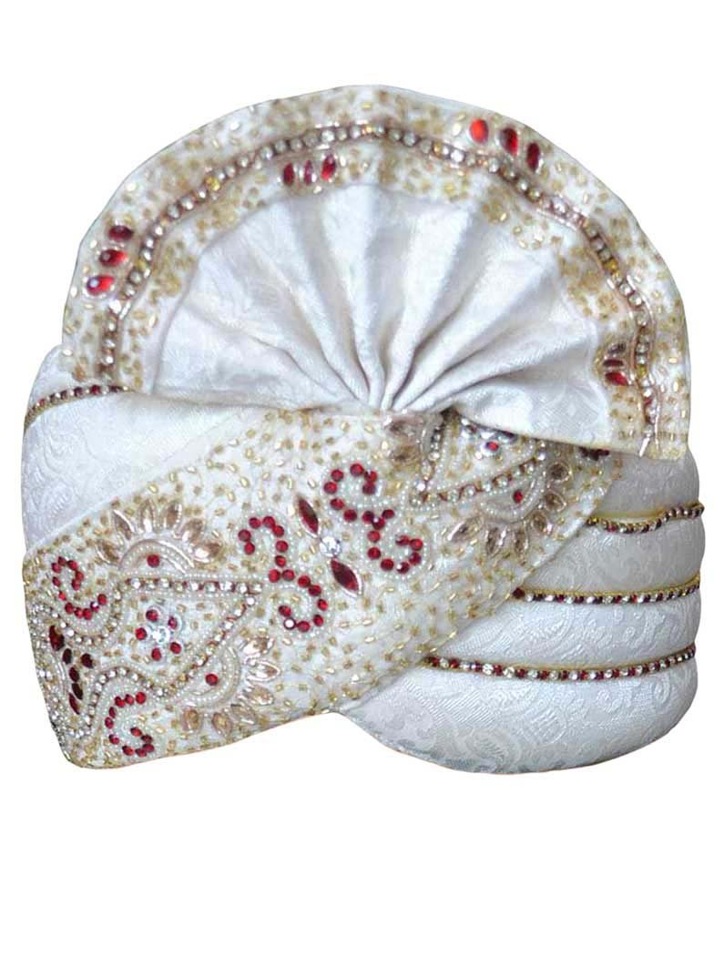 INMONARCH Mens Traditional Brocade Wedding pagari safa Groom hats TU1056 23-inch Cream