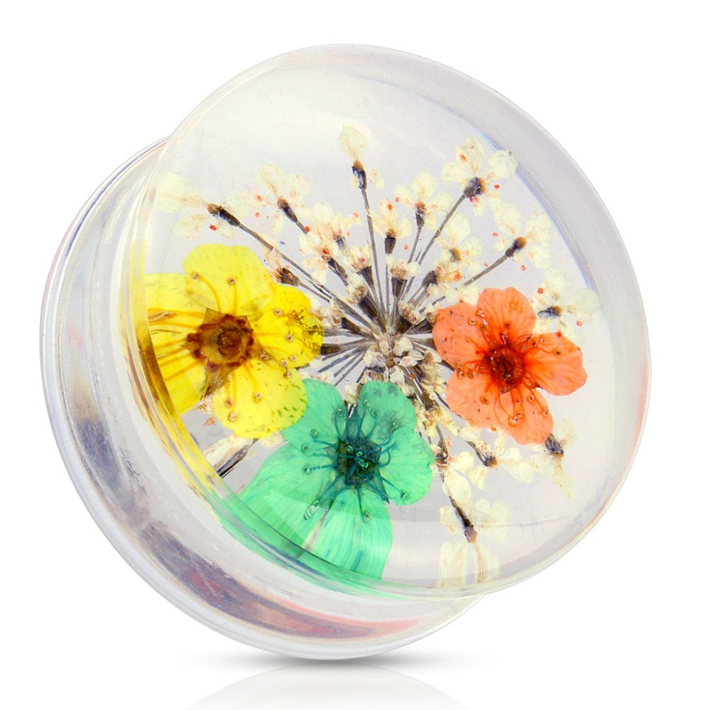 Sold by Pair Freedom Fashion Yellow Dried Flower Clear Acrylic Saddle Fit Plug