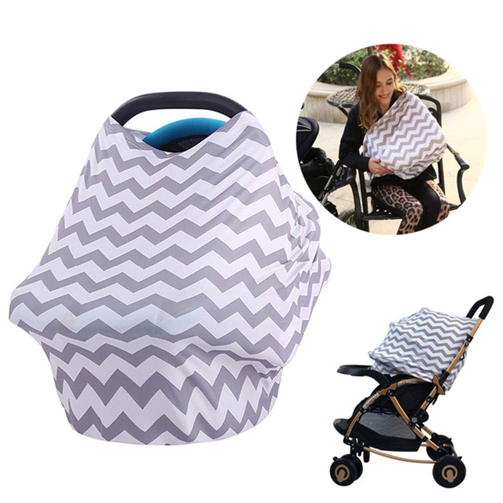 Nursing Breastfeeding Cover Scarf,Baby Car Seat Canopy, Shopping Cart, High Chair, Stroller and Carseat Covers 5-in-1 Canopy & Nursing Cover for Boys and Girls - (Gray)