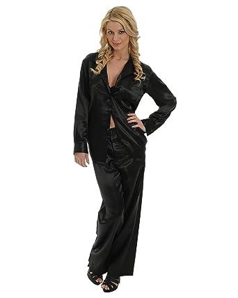 Womens Black Satin Charmeuse Pajamas 2 Pc Set Sleep Shirt And Lounge Pants  Sizes  Small d68bd765f