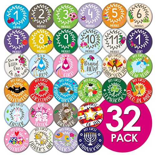 Ronica Baby Monthly Stickers- Record Growth and Other Milestones, Set of 32