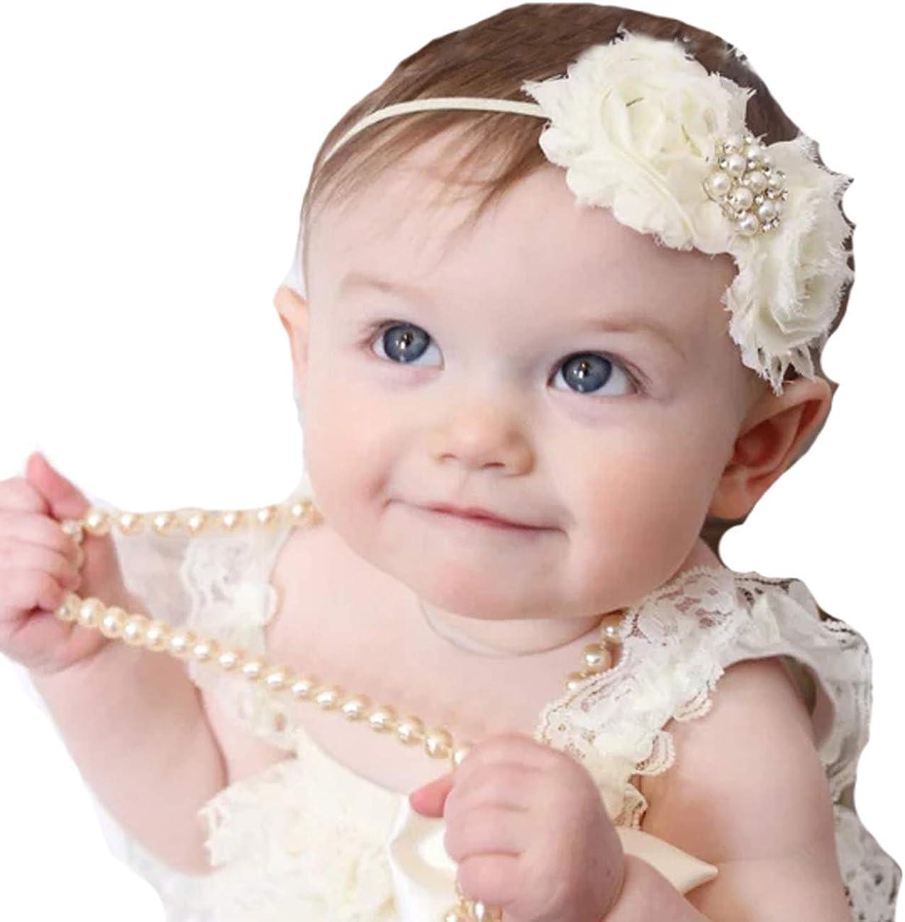 Newborn Baby Headband Socks Set Cute Flower Pearls Bows Princess Girls Hair Band