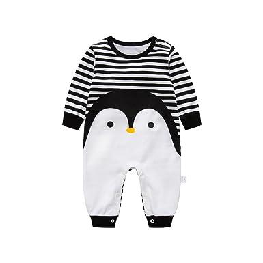 Amazon Com Luckyauction Baby Boys Girls Long Sleeve Stripe Penguin
