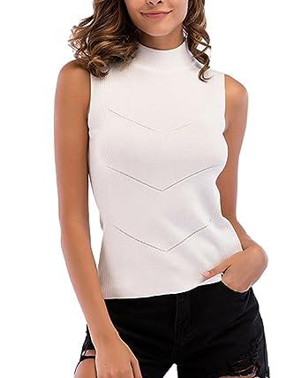 ad1de3d2f2edde Tee Shirt Col Roulé Femme Debardeur Rayé sans Manches Tricot Côtelé Haut  Tops Blanc M