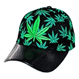 Gorra Cannabis Hoja de Marihuana de Nylon Unitalla (negro claro con verde) 4776bc367bd