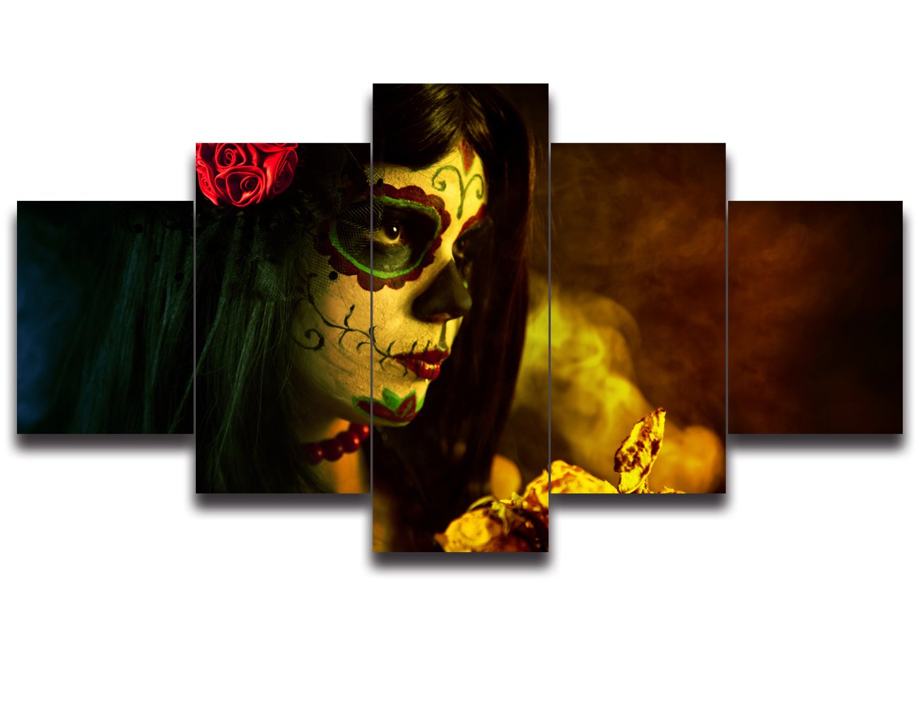 Day of the Dead Canvas Halloween Painting Sugar Skull Girl Face Wall Art 5 Piece Modern Posters and Prints Big Rose Pictures for Living Room,Home Decor Framed Stretched Ready to Hang(60''Wx40''H)