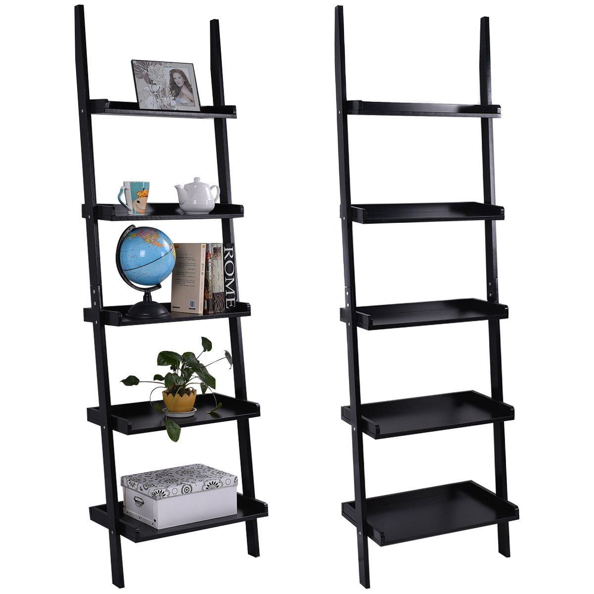 TANGKULA Ladder Bookcase 5-Tire Wood Leaning Shelf Wall Plant Shelf Ladder for Home Office Modern Flower Book Display Shelf Storage Rack Stable A-Frame Wooden Ladder Shelf