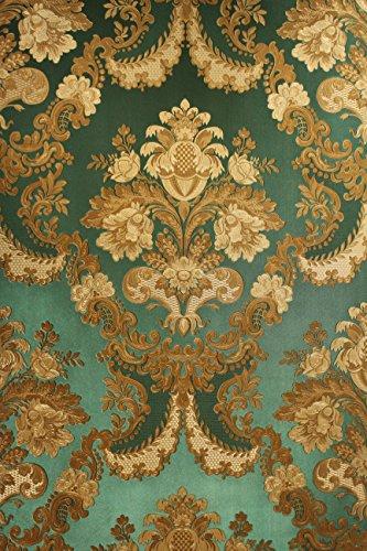 Vinyl Tapete Barock Retro # grün/gold # Fujia Decoration # 22832