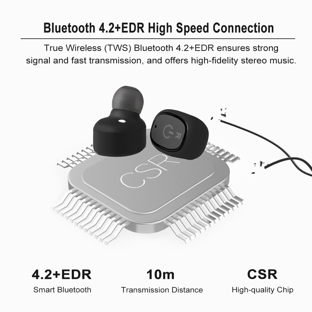 Docooler Bt Earbuds Dual Tws True Wireless Csr In Ear Circuit Diagram Fidelity Stereo Music Headsets Ip67 Waterproof Invisible Earphone Hands Free W Mic Charging Box