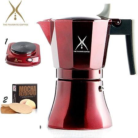 Cafetera italiana de primera calidad para café exprés, olla Moka para estufas de inducción eléctrica a gas y ...