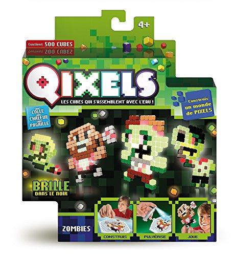 Asmokids Qixels - Kk87023 - Mini Kit 4 Créations - Glow in The Dark - Thème Zombies MOOSE Perles
