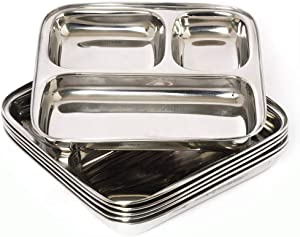 Set Of 4 steel 3 compartment plate Square Plate for Lunch/Dinner Thali, Mess Tray, Serving Steel Plate, Everyday Use For Kids/Adults Camping Outdoor Plate
