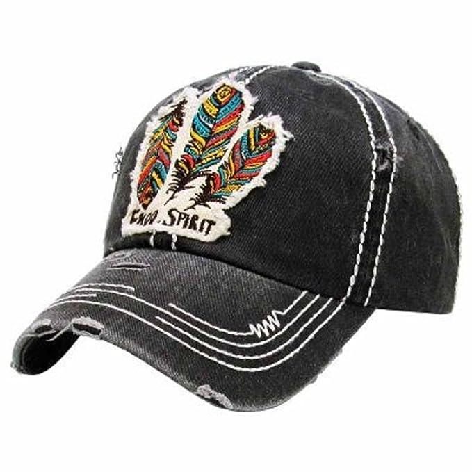 KB Adjustable Aztec Hippy Feather Baseball Cap Hat (Gray Black) at ... 19316e4a729