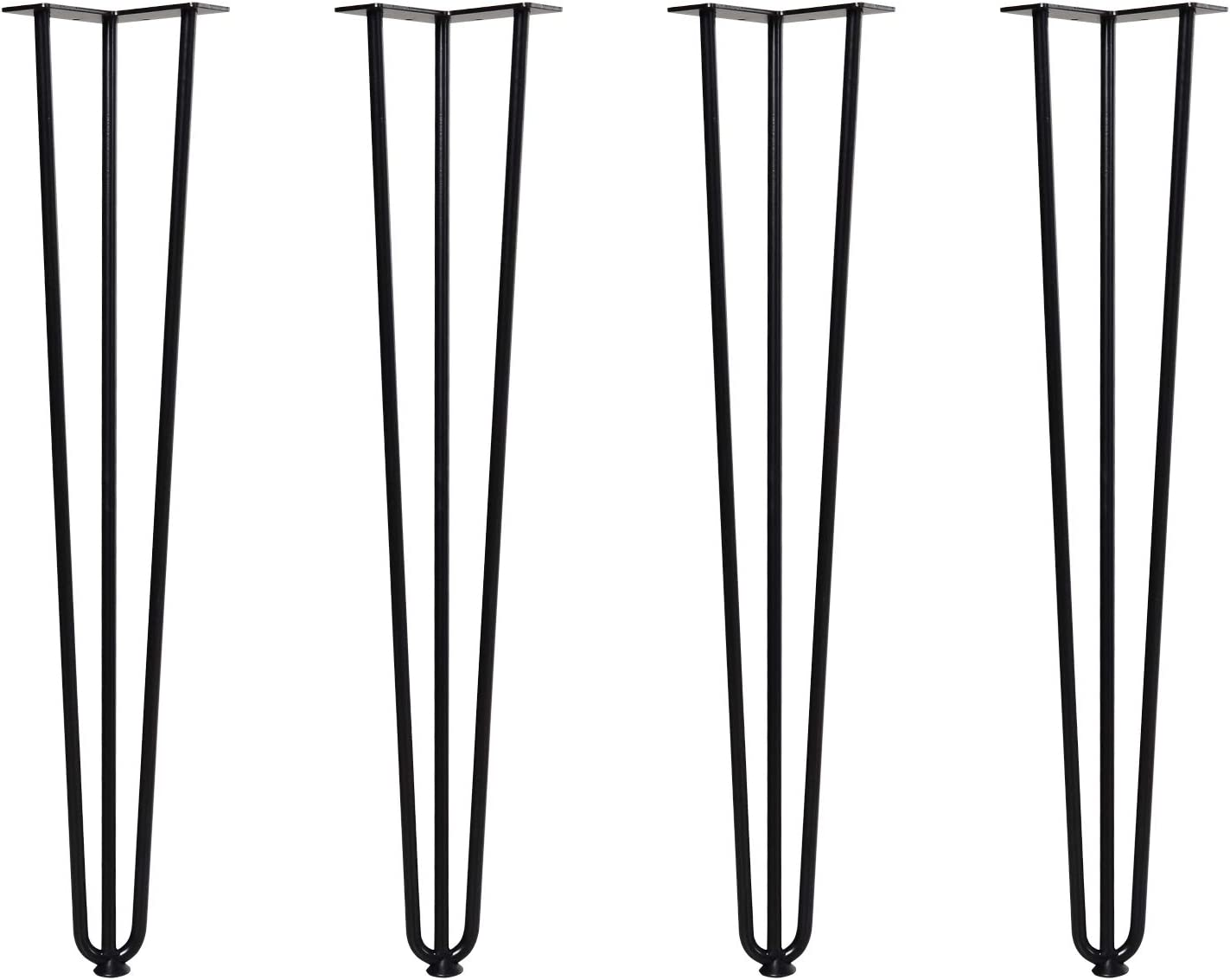 HOMCOM Conjunto de 4 Patas para Mesa de Estilo Industrial y Diseño Horquilla con Protectores Anti-arañazos de Goma 12x12x71cm Tornillos de Montaje Incluidos Negro