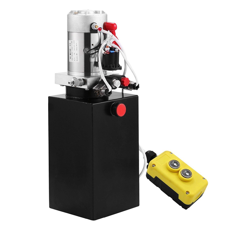 ZauberLu 12V/DC Hydraulikpumpe Einfachwirkend Kipperpumpe Hydraulikaggregat 7L Kunststofftank Antriebseinrichtung fü r Auto(7L Einfachwirkend Kunststoff)