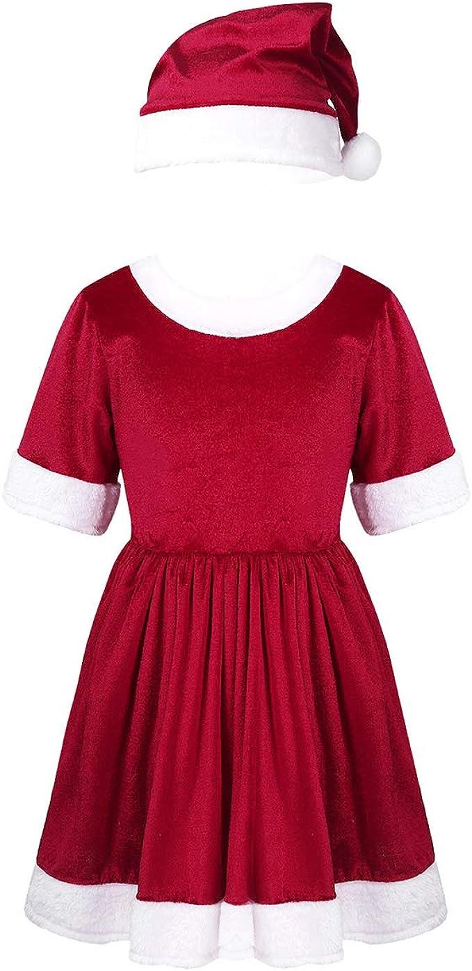 ranrann Vestido Rojo de Mamá Noel para Niña Disfraz de Santa ...