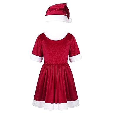 Agoky Disfraz de Santa Navidad para Niña Vestido Rojo de ...