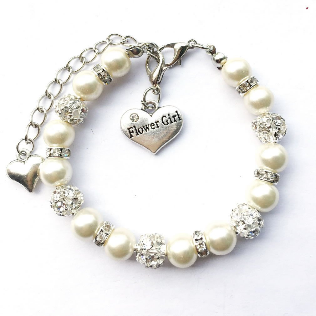 DOLON Faux Pearl Beaded Flower Girl Charm Bracelet Handmade Thank You Wedding Gift Girls Teens Jewelry Cream