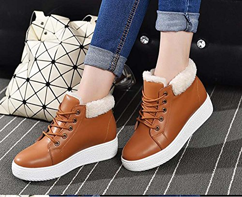 Round Tall Color Lace Toe Snow Warm Brown Shoes up Women Heel Plate Boots Martin Thick 35 Wedge 4cm Casual Boots Shoes Size Pure Bottom 40 Bootie Eu APaEq