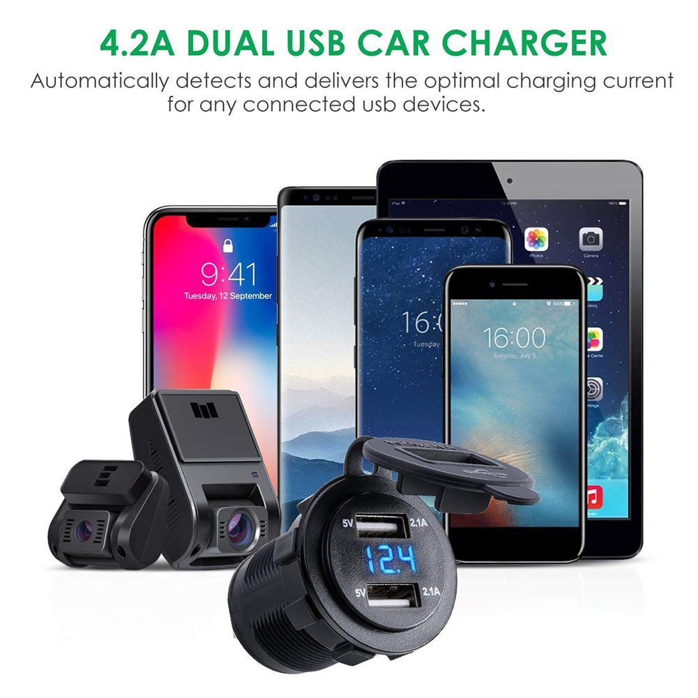 Gyswshh Car Motorcycle Waterproof 4.2A Dual USB Charger Socket with Voltmeter Wire Green