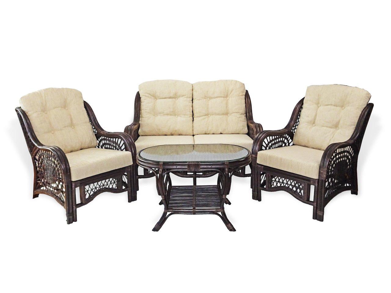 Malibu Lounge Set of 2 Natural Rattan Wicker Chairs, Loveseat with Cream Cushion and Coffee Table w/Glass Handmade, Dark Brown