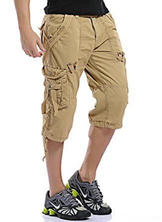 MR. R Men's Relaxed Fit Solid Long Cargo Shorts Capri Pants (no ...