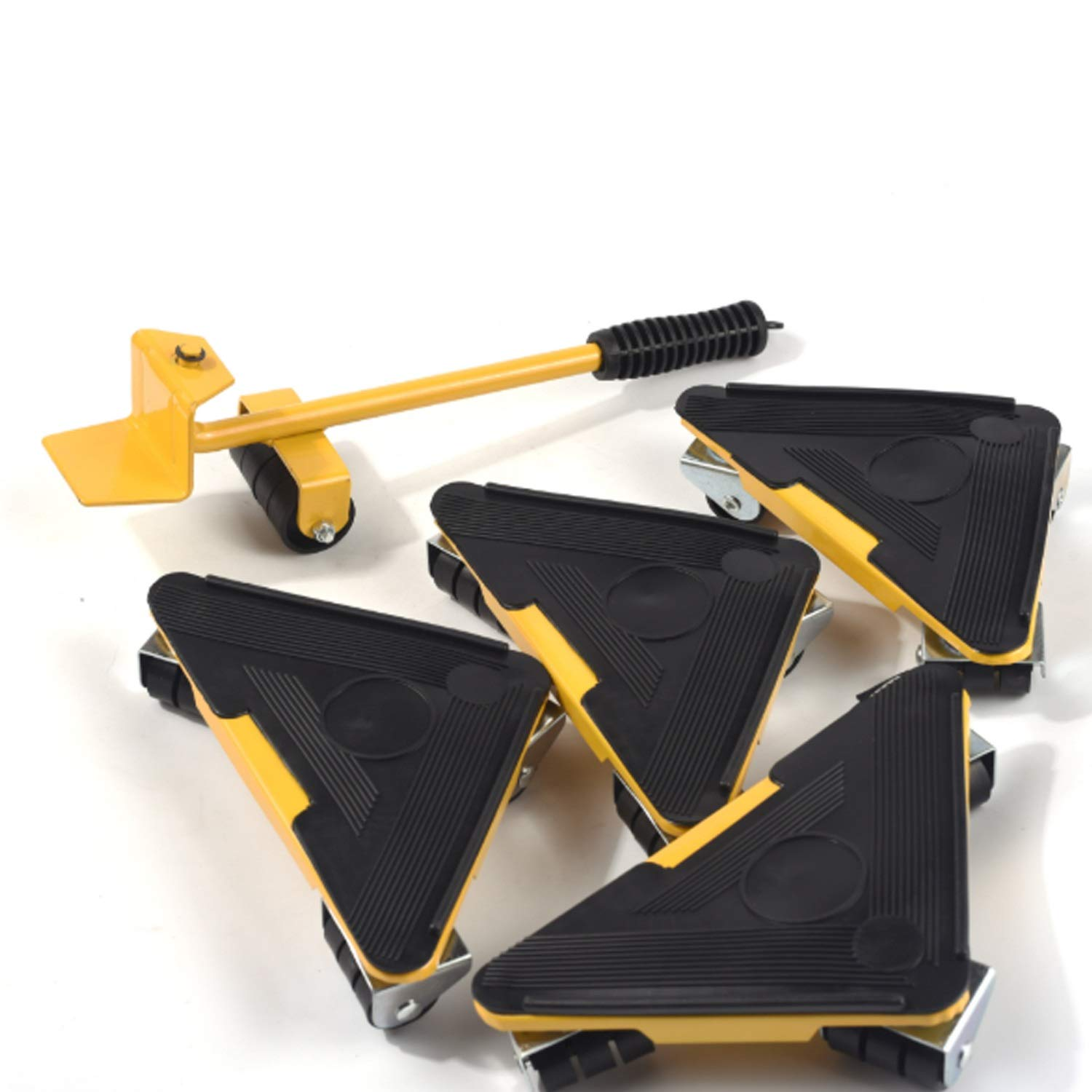 Your only family Practical Can Bear 400-500KG Triangular Moving Device Triangle Iron Mover with Universal Wheel Movable Portable Easy to Move Heavy Goods and Furniture Durable (Color : Yellow) by Your only family (Image #2)