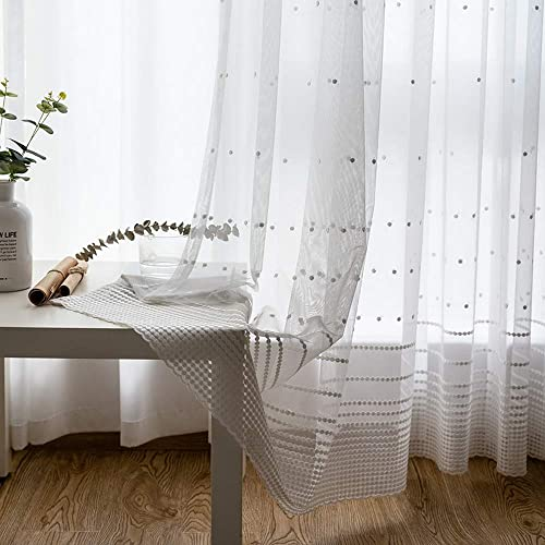 ZZC White Sheer Embroidered Curtain Panel 72 Inch Long for Living Room Bedroom Sweet Tulle Drape Rod Pocket Top 2 Panels W75 L72 Inch