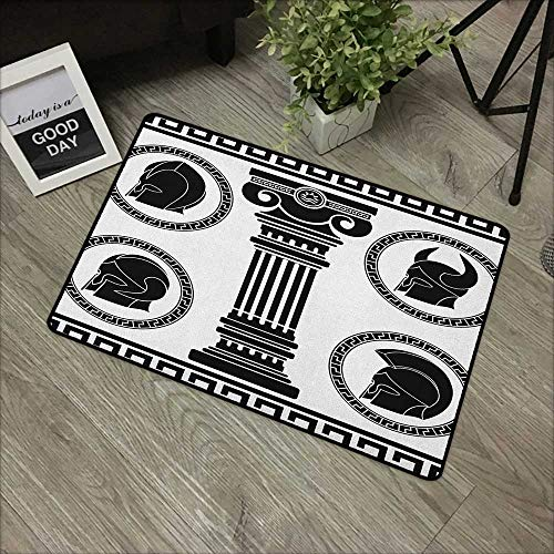 Outdoor Door mat W31 x L47 INCH Toga Party,Patterned Circular Frames with Antique Accessories Spartan Classic Costume, Black and White Easy to Clean, Easy to fold,Non-Slip Door Mat Carpet -