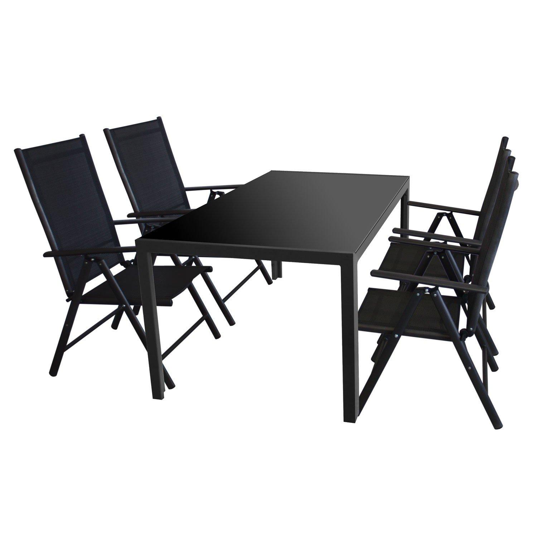 5tlg. Gartenmöbel Set Glastisch, Tischglasplatte undurchsichtig, 160x90cm, schwarz + 4x Hochlehner, Aluminium, Textilenbespannung, Rückenlehne 7-fach verstellbar / Gartengarnitur Gartengarnitur