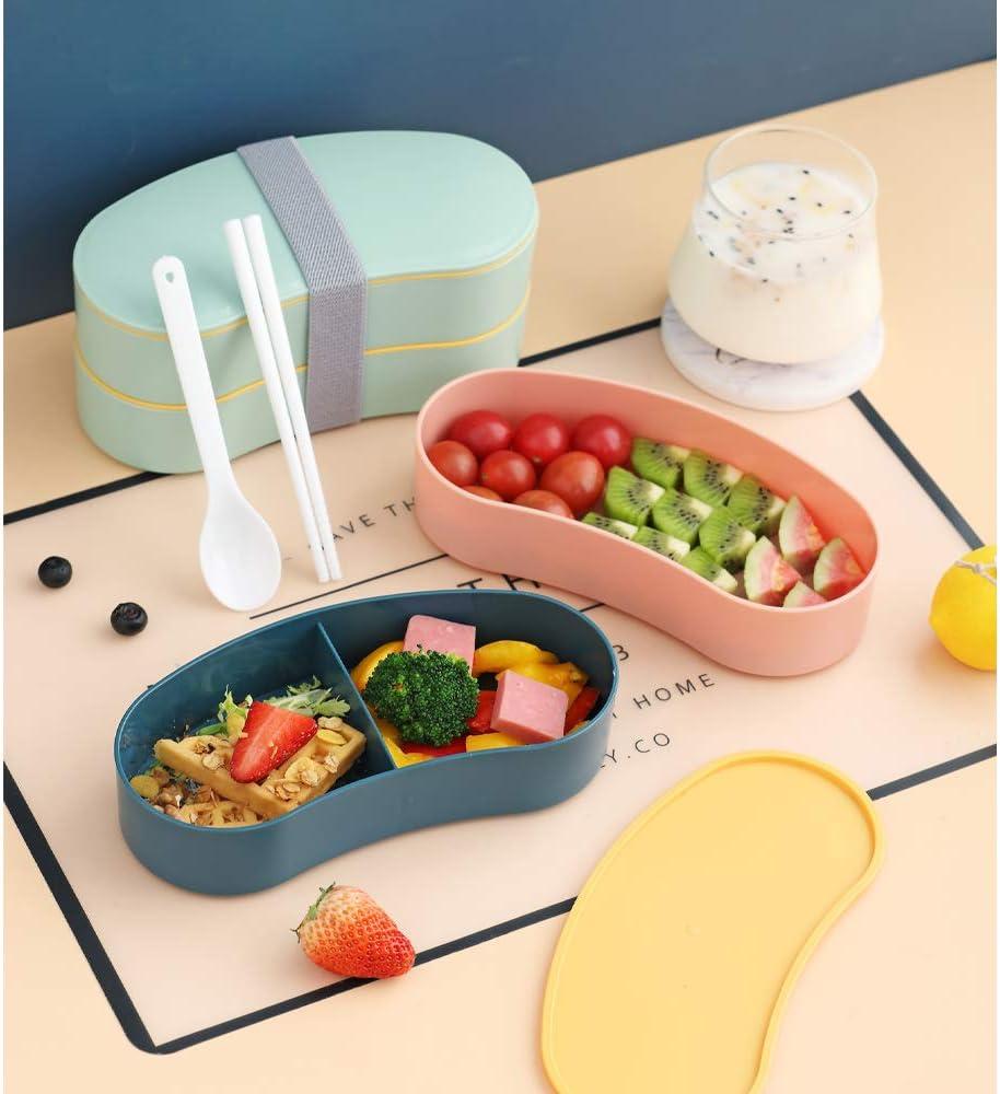 travail///école vert rose MIHUA boite bento lunch box 2 niveaux avec couverts r/éutilisables style japonais pour micro-ondes cong/élateur lave-vaisselle bo/îtes /à bento pour enfants//adultes