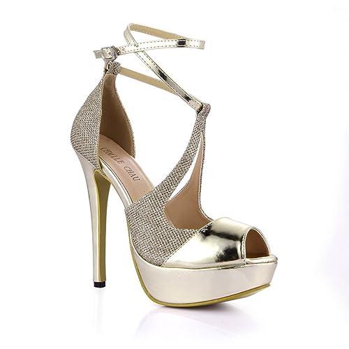 393094d5 CHMILE Chau-Zapatos para Mujer-Sandalias de Tacon Alto de Aguja-Sexy ...