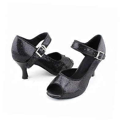 misu - Zapatillas de danza de Piel para mujer negro negro, color negro, talla 37 1/3