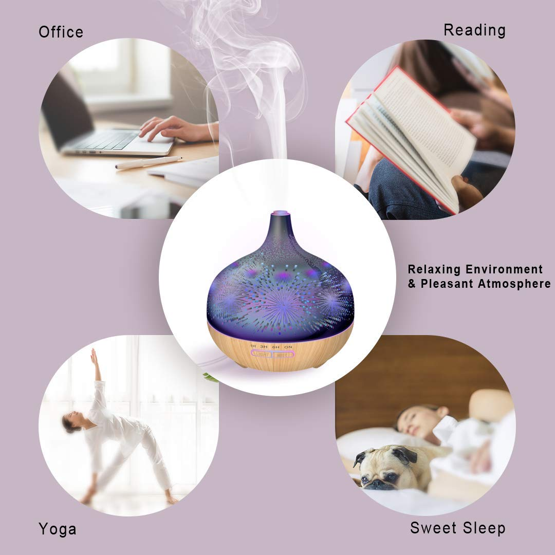 3D Essential Oil Diffuser,400ml Aromatherapy Ultrasonic Cool Mist Humidifier With Remote Control And 3D Design Glass Star Effect Pattern Essential Oil Handy Auto Shut-Off Function for Home,Baby,Office by Sleevea US (Image #7)