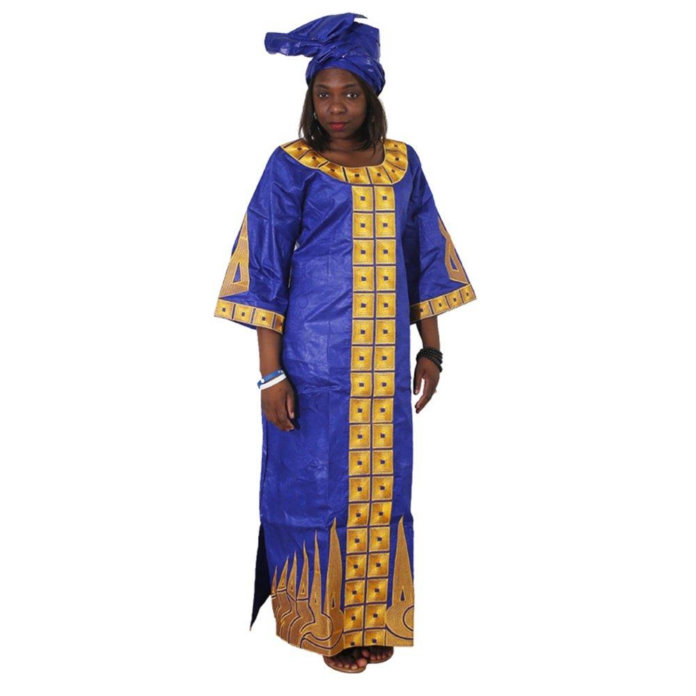 H D Bazin Riche Maxi Dress for Women, African Dashiki Female Jacquard Scarf,Blue-2xl