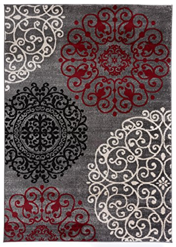 (Rugshop Modern Floral Contemporary Area Rug, 10' x 14', Red)