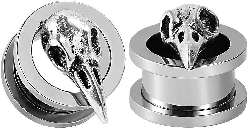 1 inch SUPTOP 2pcs Titanium Alloy Ram Skull Ear Gauges Screw Plugs and Tunnels 2G