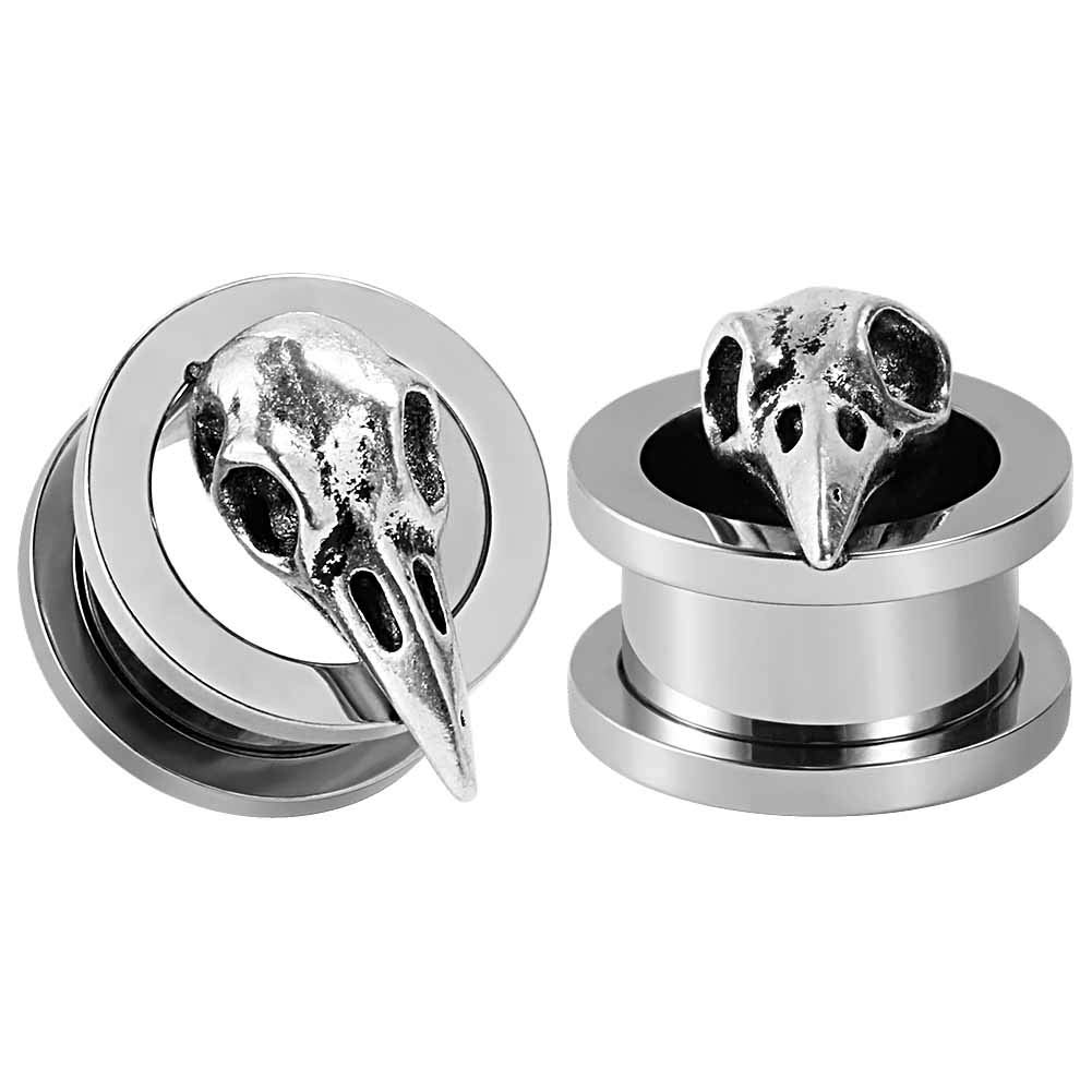 TBOSEN 2 pcs Stainless Steel Tunnel Bird Skull Ear Plugs Tunnel Expander Gauges Piercing Expander Large Gauges 2g - 1 inch