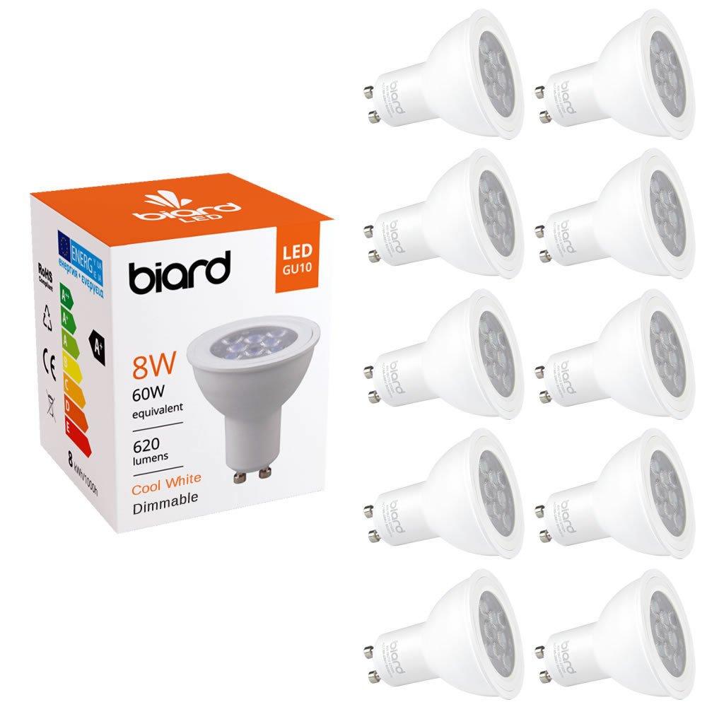 Biard Pack x 10 Bombillas LED Focos Spot Lights GU10 8W con Intensidad Regulable en Blanco Frío (Equivalente 60W, 620 Lúmenes): Amazon.es: Hogar