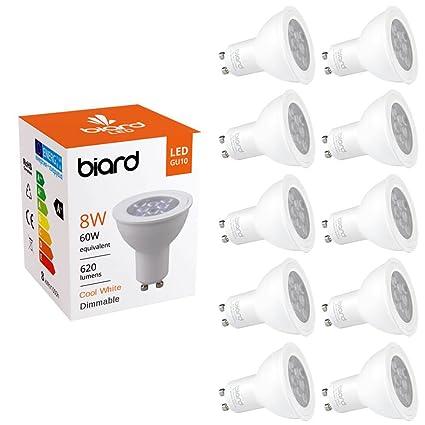 Biard Pack x 10 Bombillas LED Focos Spot Lights GU10 8W con Intensidad Regulable en Blanco