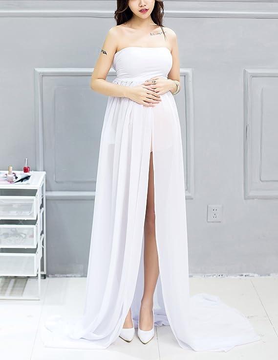 e25827b20 Happy Cherry Maxi Vestido de Maternidad Elegante de Gasa Apoyo Fotográfico  para Mujeres Embarazadas Tube Maternity Photography Dress - Blanco   Amazon.es  ...
