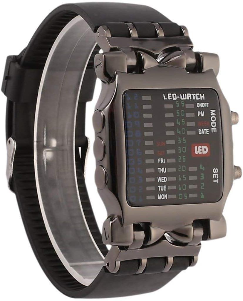 Lorenlli Multifuncional Popular Cuadrado Uisex Binario LED Relojes Digitales Banda de Goma Deporte Casual Reloj de Pulsera al Aire Libre