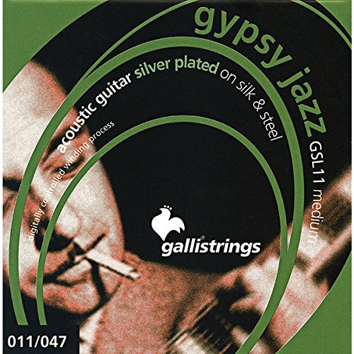 Galli Strings GSL11 GYPSY JAZZ Silver Plated Silk And Steel Medium Acoustic Guitar Strings - Galli Guitar Strings
