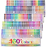 Gel Pens Colors Set, Reaeon 160 Unique Colored Gel Pen for Adults Coloring