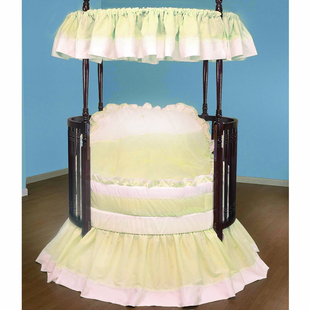 Ecru Baby Doll Bedding Regal Round Crib Bedding Set, White