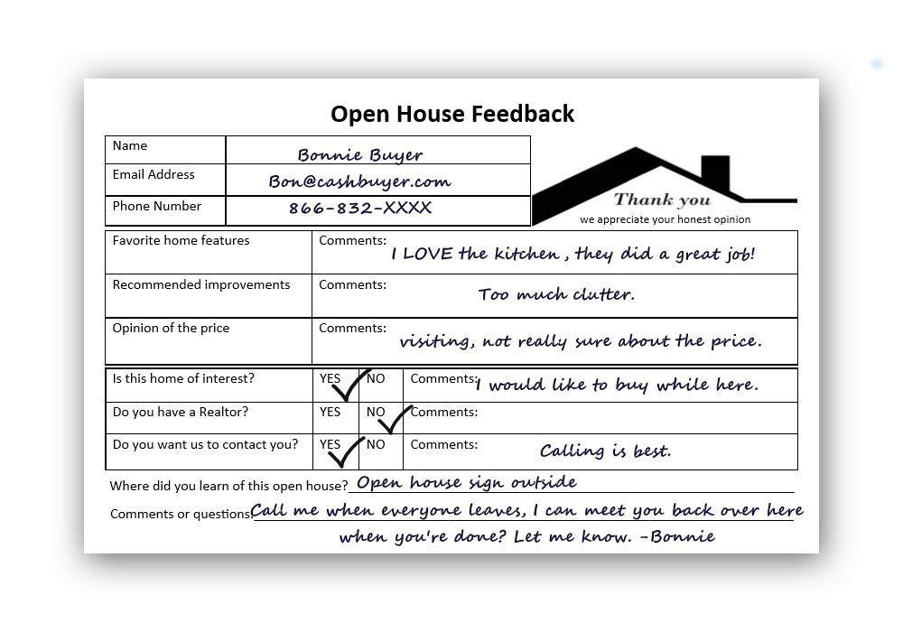 Open House Success Must Have! Great prospecting tool for Realtors, Agents and Brokers, Lenders & For Sale By Owner FSBO supplies. Notepad Forms to Collect Buyer Feedback & Buyer Contact Info during an