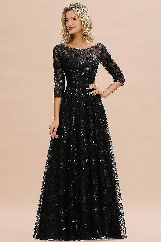 MisShow Abschlusskleider Abendkleid elegant für Hochzeit Lang 15/15 Arm  Perlenstickerei Applique Chiffon Kleider mit Langen ärmel