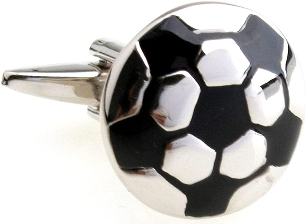 MRCUFF Soccer Ball Pair Cufflinks in a Presentation Gift Box & Polishing Cloth